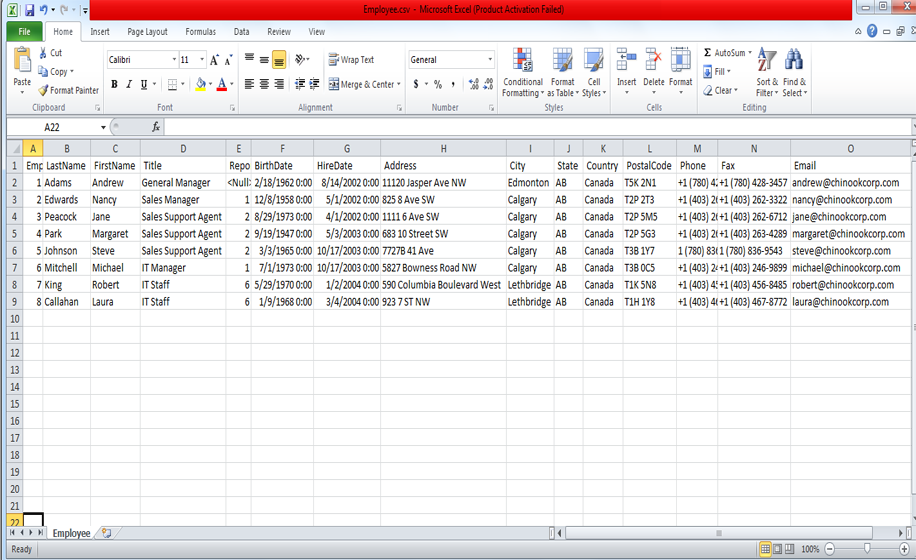 Analyze CSV File